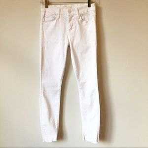 MOTHER The Looker Raw Hem White Jeans